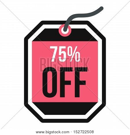 Sale tag 75 percent off icon. Flat illustration of sale tag vector icon for web design