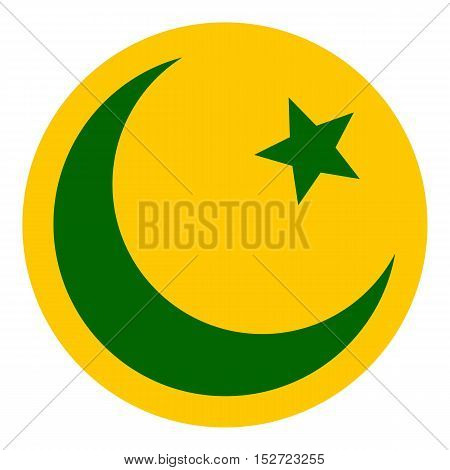 Crescent moon and star icon. Flat illustration of moon vector icon for web design