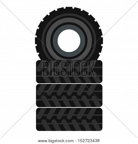 Tire pile icon. Flat illustration of tire pile vector icon for web design