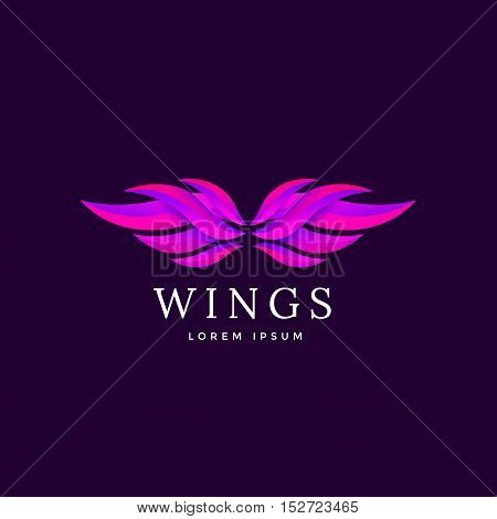 Luxury abstract wings emblem. Wing icon vector illustration.