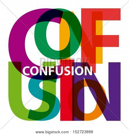 Vector confusion. Isolated confused broken colorful text