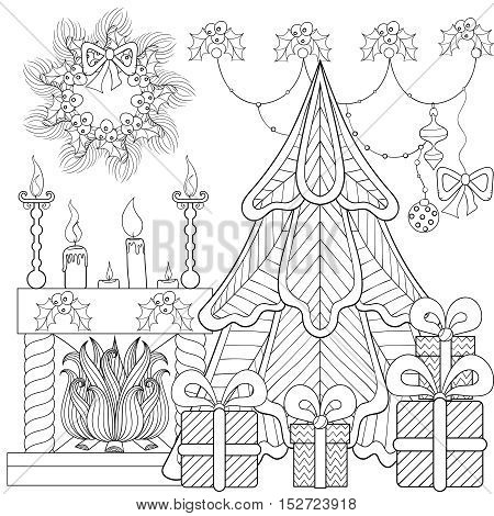 Patterned Christmas home interior with fireplace, Christmas tree, gifts for adult anti stress coloring page, book, art therapy, tattoo. Vector illustration, hand drawn sketch, holiday colour in