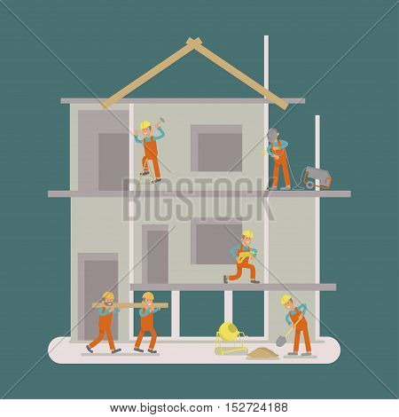 People are working at construction site by manual tools, equipment. Illustration cartoon Builders characters. Flat design Vector eps10