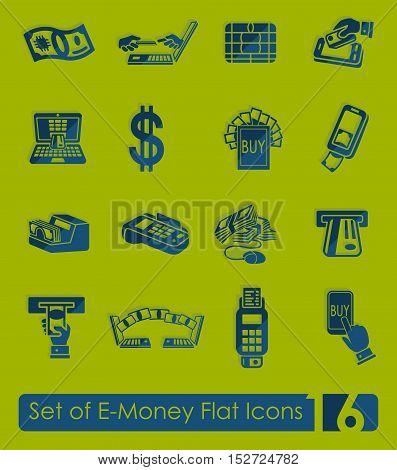 Set of e-money flat icons for Web and Mobile Applications