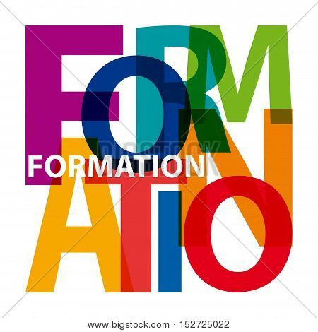 Vector formation. Isolated confused broken colorful text
