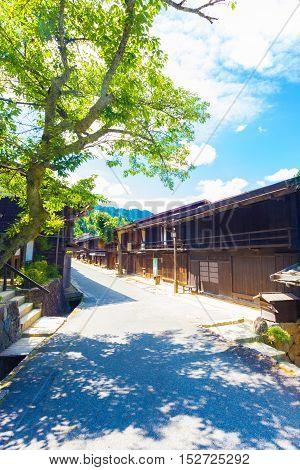 Wooden Houses Center Tsumago Nakasendo