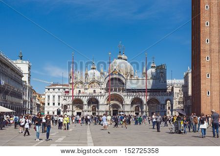 Venice Italy - May 05 2016: Tourists are walking on the Marco Polo square at spring time