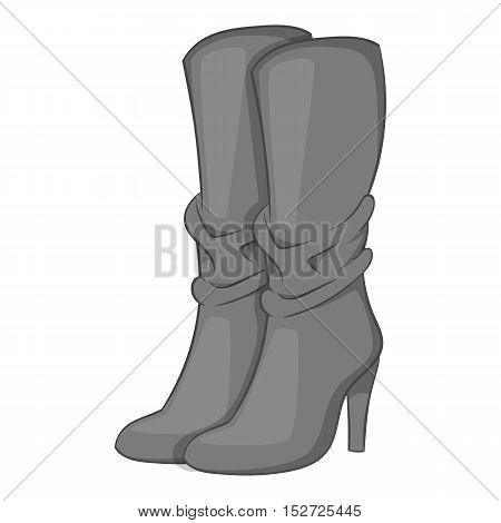 Women boots high heel icon. Gray monochrome illustration of women boots high heel vector icon for web