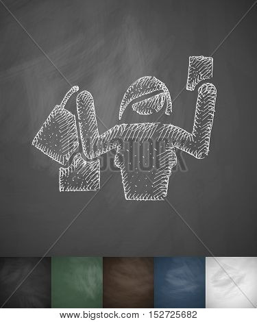 buyer girl icon. Hand drawn vector illustration. Chalkboard Design