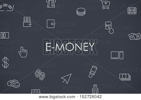 Thin Stroke Line Icons of E-Money on White Background