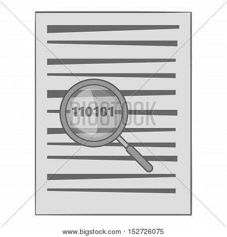 Binary code in magnifier icon. Gray monochrome illustration of binary code in magnifier vector icon for web