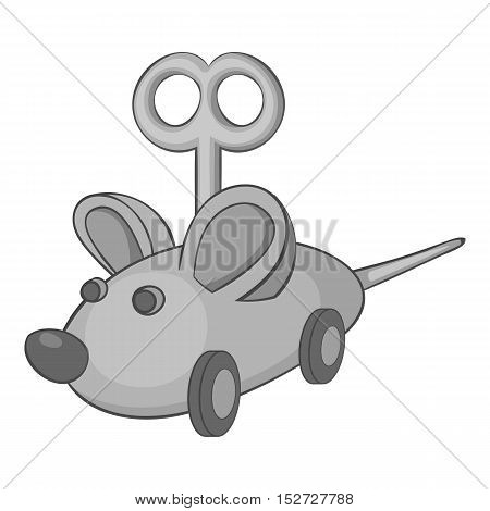 Clockwork mouse icon. Gray monochrome illustration of clockwork mouse vector icon for web