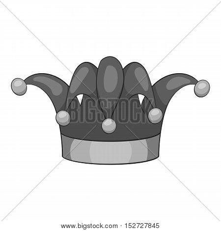 Clown hat icon. Gray monochrome illustration of clown hat vector icon for web