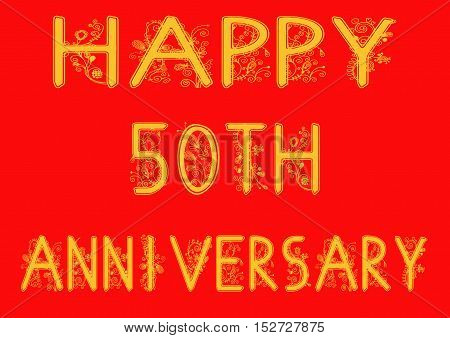 Happy 50th Anniversary Text Greeting on a red background.