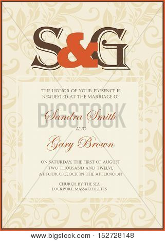 Wedding invitation and save the date card. Also can be used as greeting card birthday card or party invitation.