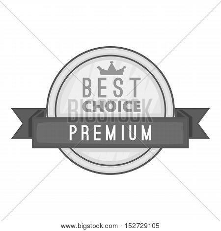 Label best choice premium icon. Gray monochrome illustration of label best choice premium vector icon for web