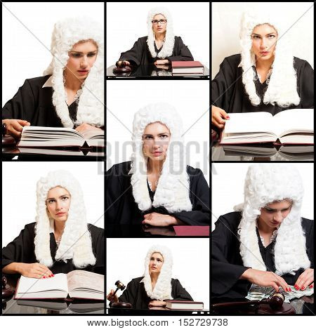 Portraits of Female Judge wearing a wig and black mantle.Collage.