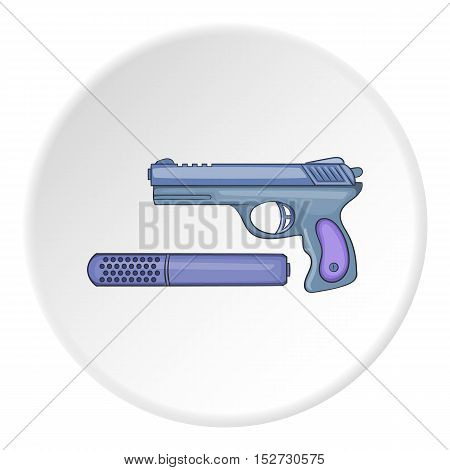 Pistol with a silencer icon. Cartoon illustration of pistol with a silencer vector icon for web