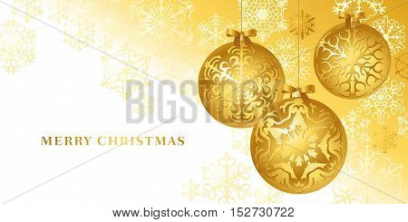 vector christmas card with golden baubles an snow chrystals