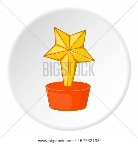 Gold cup star icon. Cartoon illustration of gold cup star vector icon for web