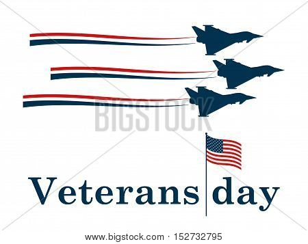 Veterans Day. Military aircraft contour. Air Force. Vector illustration.
