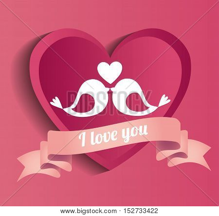lovely postcard love you bids heart pink vector illustration eps 10