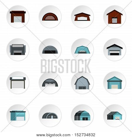 Warehouse icons set. Flat illustration of 16 warehouse vector icons for web