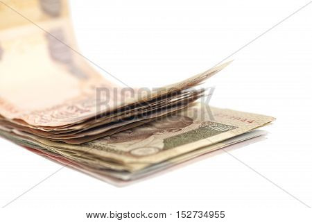 Indian Currency Rupee bank notes on white background