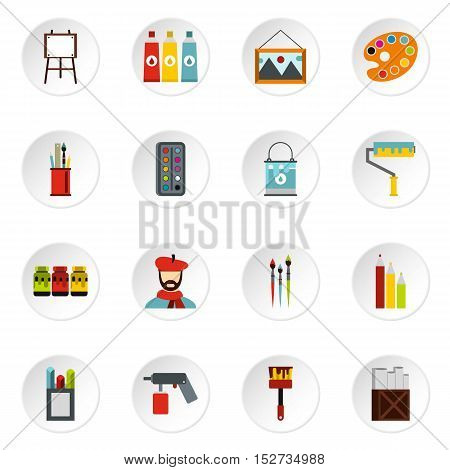 Artist studio icons set. Flat illustration of 16 artist studio vector icons for web