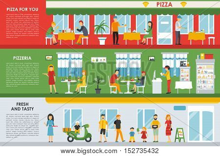 Pizza For You, Fresh and Tasty, Pizzeria flat concept web vector illustration. People, Visitors, Waiters, Deliveryman, Scooter. Restaurant interior presentation.