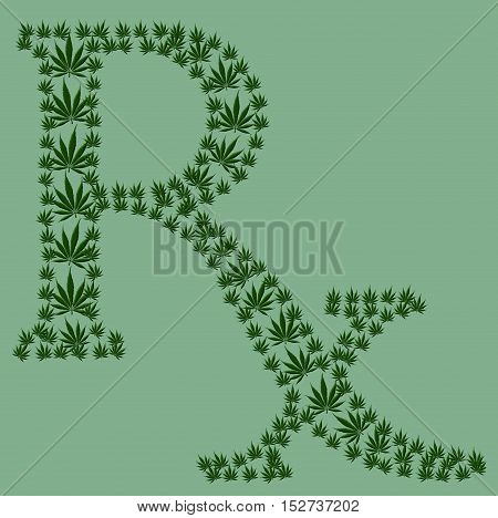 A green prescription shaped symbol made from marijuana leaves isolated on a green background Marijuana prescription