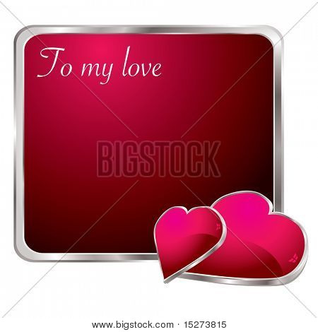 Silver bevel red love note with two hearts and shadows