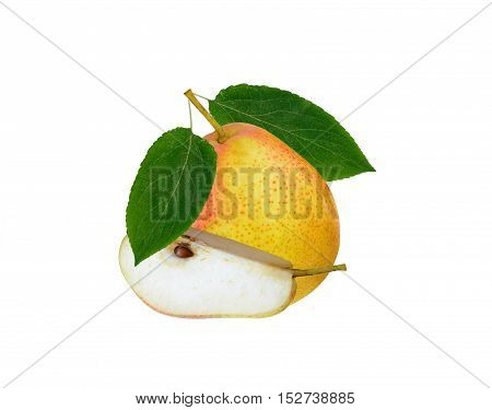 Yellow red pears with leaf isolated on white background. Forella cultivar