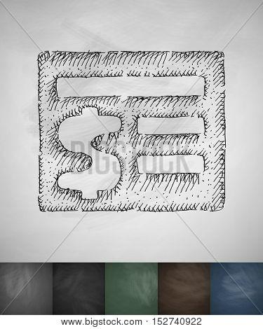 acount balance icon. Hand drawn vector illustration. Chalkboard Design