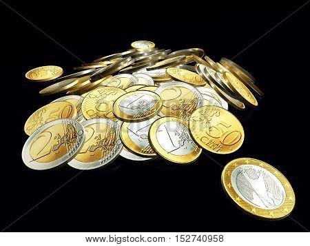 Stack of Euro coins on dark background.3d illustration
