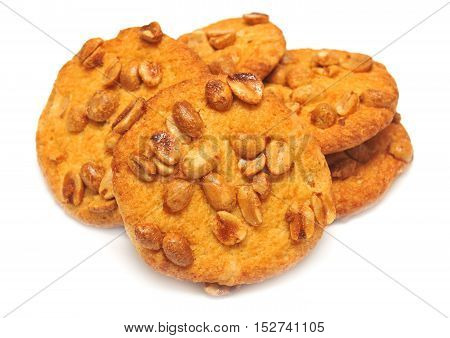 Cookies with peanuts isolated on white background