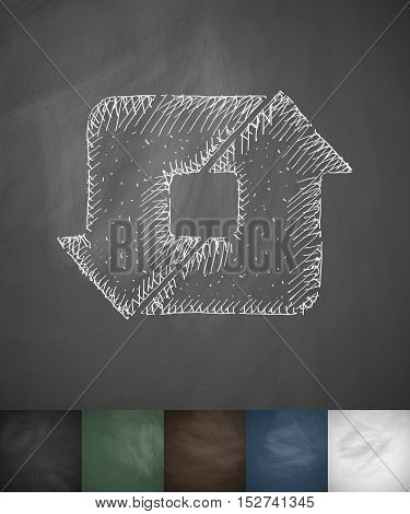cached icon. Hand drawn vector illustration. Chalkboard Design