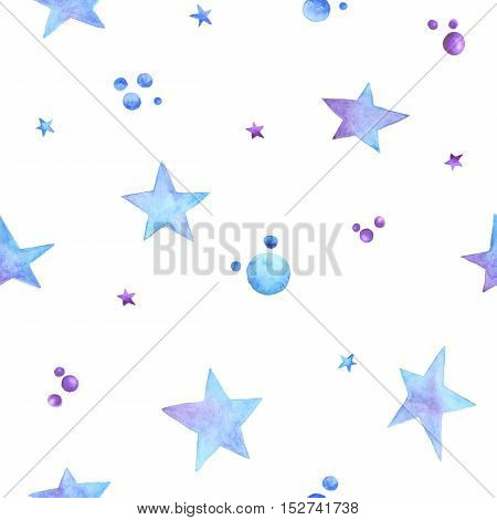 Seamless pattern with hand painted ombre blue and violet watercolor stars drop confetti jellybeans dragee. Modern decoration gift box wallpaper textile fabric wrapping paper. Winter theme.
