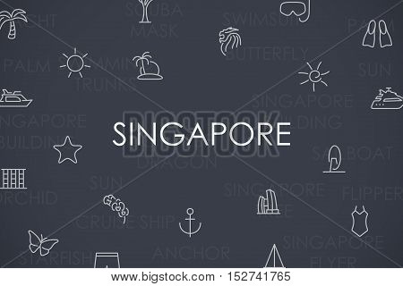 Thin Stroke Line Icons of Singapore on White Background
