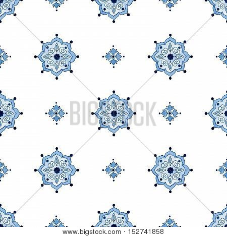 Delft blue style seamless pattern. Watercolor vintage filigree indigo ornament for textile fabric wallpaper tableware. Dutch motives boho surface design. Holland tile motives blue background