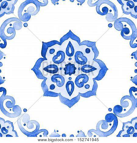 Delft blue style seamless pattern. Watercolor vintage filigree cobalt blue ornament for textile fabric wallpaper tableware. Dutch motives boho surface design. Holland tile motives blue background poster