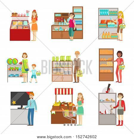 People Shopping In Department Store Set Of Illustrations. Supermarket Visitors And The Products They Buy Flat Simple Vector Stickers.
