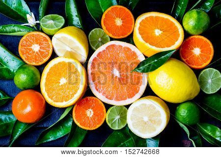 Citrus background. Assorted fresh citrus fruits with leaves. Lemon, orange lime, grapefruit mandarin. Harvest concept. Top view
