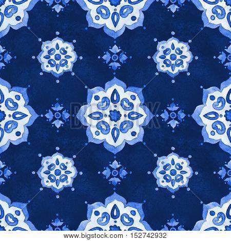 Watercolor royal blue velour seamless pattern renaissance tiling ornament. Delicate filigree openwork lace pattern. Blue velvet revival tracery design. Denim texture background