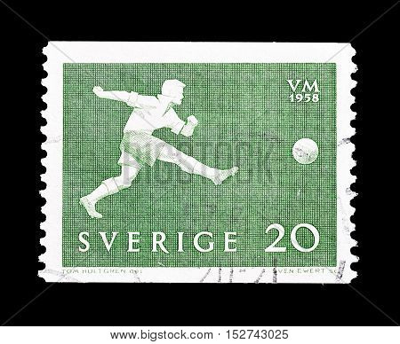 SWEDEN - CIRCA 1958 : Cancelled postage stamp printed by Sweden, that shows Football.