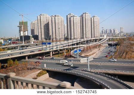 The City highway three dimensional viaducts view
