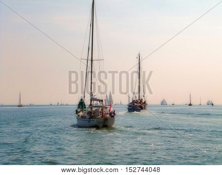 Sailing boat with a rosa morning sky