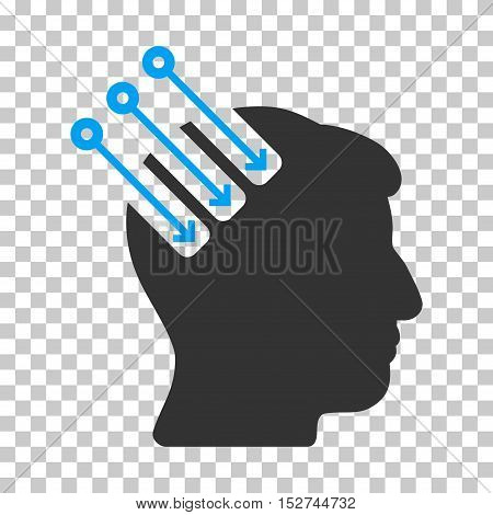 Blue And Gray Neuro Interface toolbar pictogram. Vector pictograph style is a flat bicolor symbol on chess transparent background.