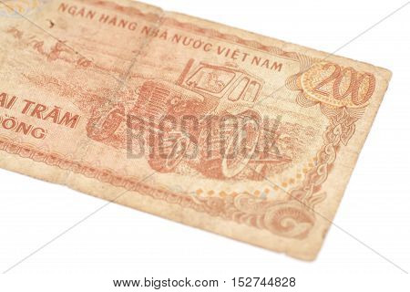 200 Dong bills of Vietnam isolated on white