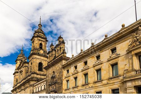 Bolivar Square and the Cathedral in Bogota, Colombia
